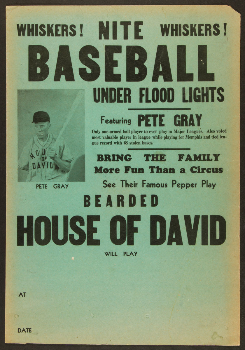 Circa 1940s-50s Pete Gray and The House of David Broadside.