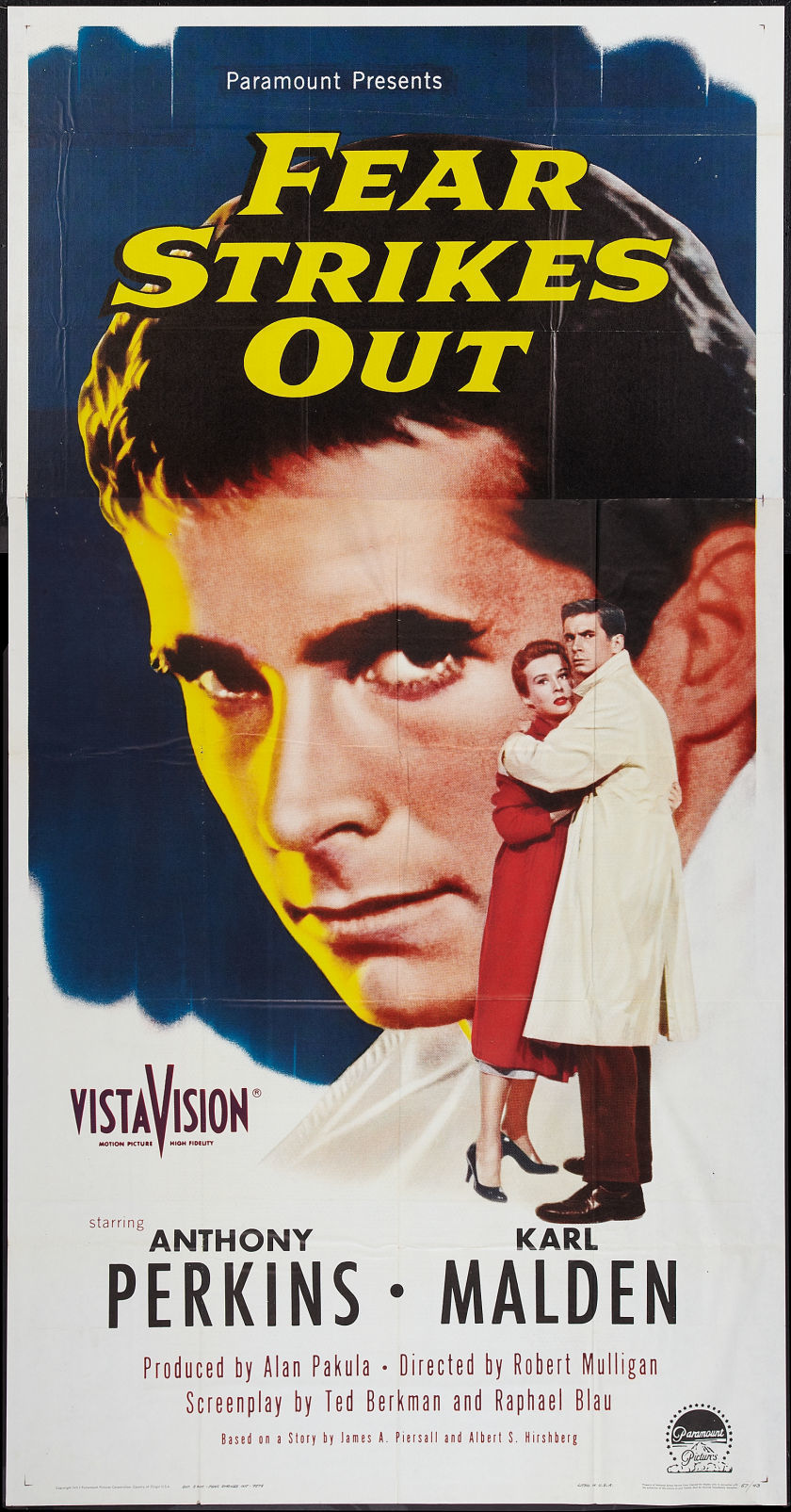 1957 Fear Strikes Out 3 Sheet Movie Poster.