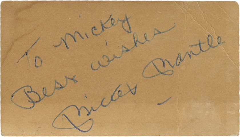 "Mickey Mantle ""To Mickey"" Signed Business Card"