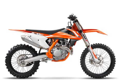 2018 450 SX-F $9,599.00 Drop the Hammer If gold is what you're after, a KTM 450 SX-F is what you race. Thanks to its compact engine delivering explosive but controllable power, it's the weapon of choice for the Red Bull KTM Factory Racing Team and the champion, Ryan Dungey. This READY TO RACE bike rules the AMA Supercross Championship. Its secret? Precise handling and arm-stretching grunt. Winners - line up here.