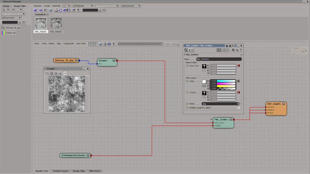 Render tree en Softimage mostrando como preparar el shader.