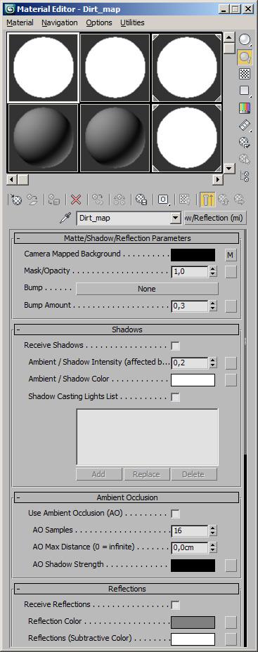 Editor de materiales en 3D Max mostrando como preparar el shader. Parte 1 de 2