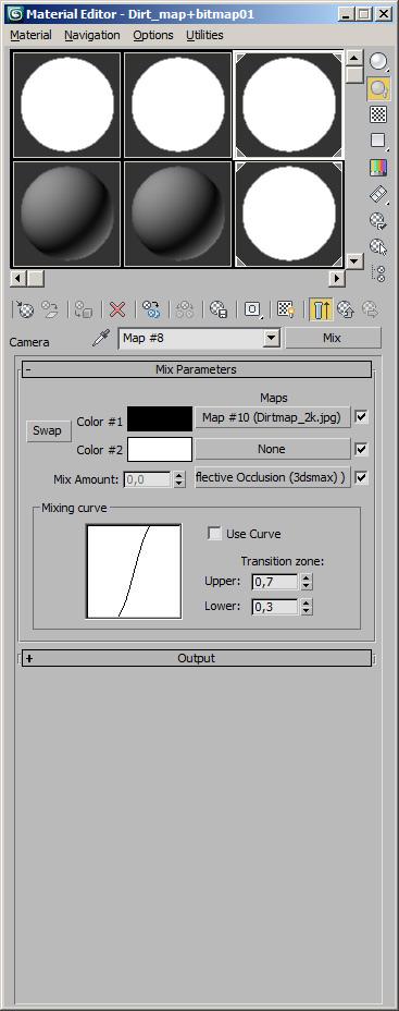 Editor de materiales en 3D Max mostrando como preparar el shader. Parte 2 de 2
