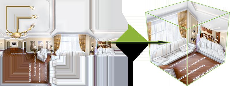Panorama equirectangular transformado mediante una proyección cúbica.