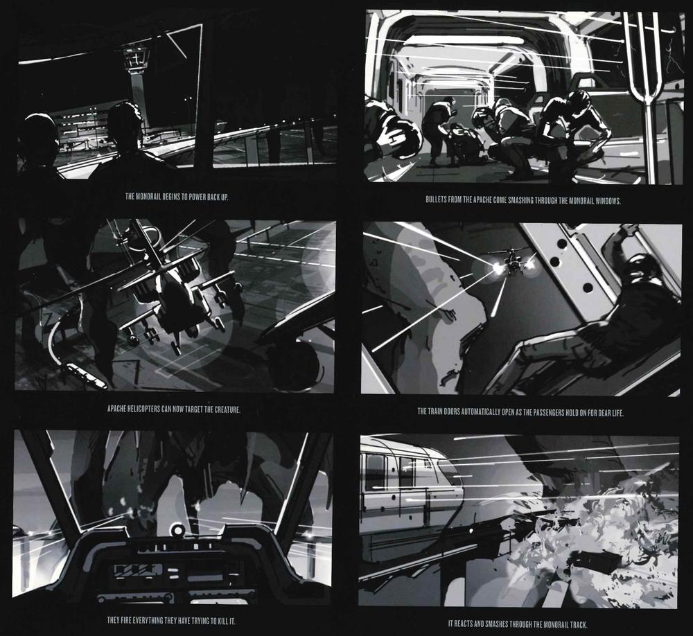 Storyboard que ilustra la secuencia de ataque al aeropuerto y monorail.
