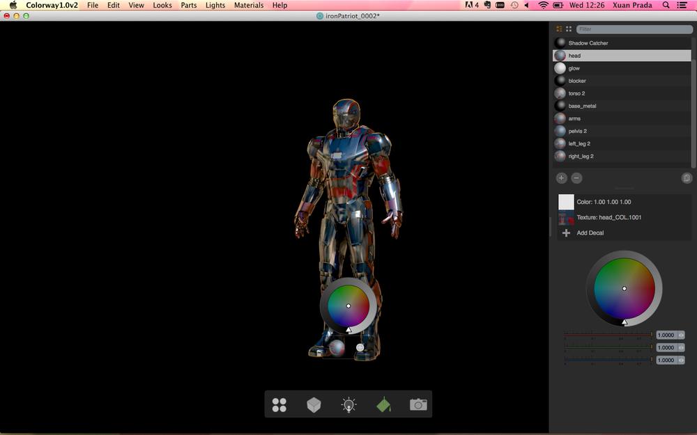 En la parte derecha también encontramos todos los shaders disponibles en la escena. Se puede tocar la intensidad, el color y las texturas de diffuse. Esto te da la posibilidad de crear multitud de versiones del mismo asset en tiempo real.