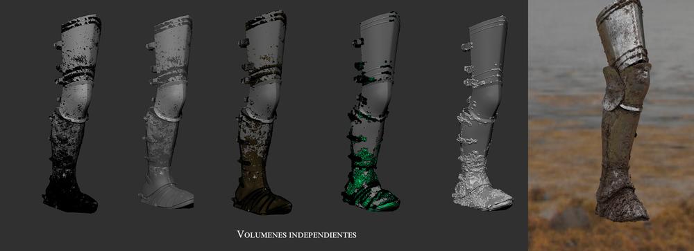 Detalle del barro en las piernas de los personajes.