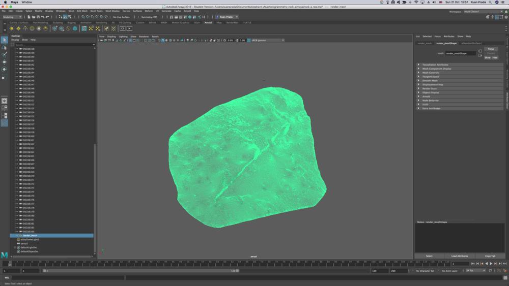 En la escena de Photoscan, tenemos que importar el render mesh, éste sustituirá el modelo generado en Photoscan.