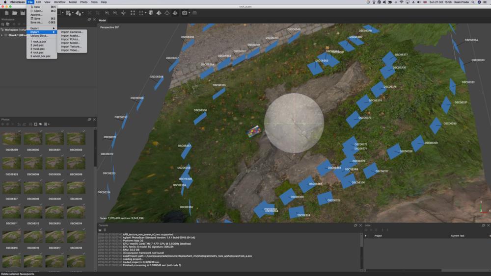 El render mesh se alinea perfectamente con las cámaras utilizadas para la creación del mesh original.