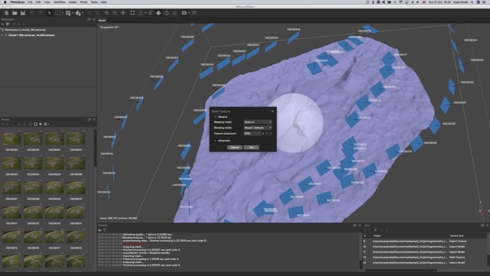 Una vez proyectadas las fotografías, obtenemos un modelo texturizado en el viewport.