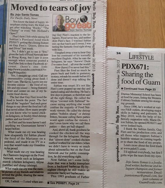 September - PDX671 is featured in a reaction article Moved to tears of joy by Jojo Santo Tomas for Guam's Pacific Daily News
