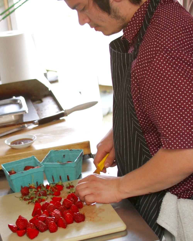 Slicing the fresh Oregon strawberries
