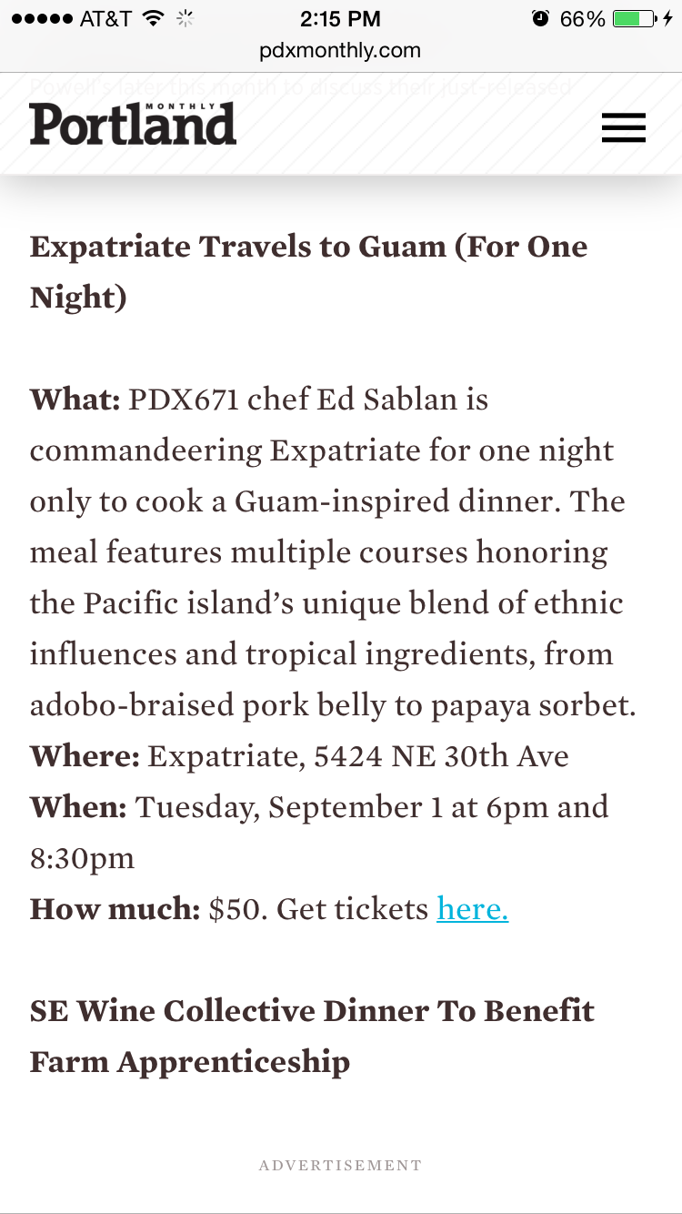 Portland Monthly Eat Beat Announcement