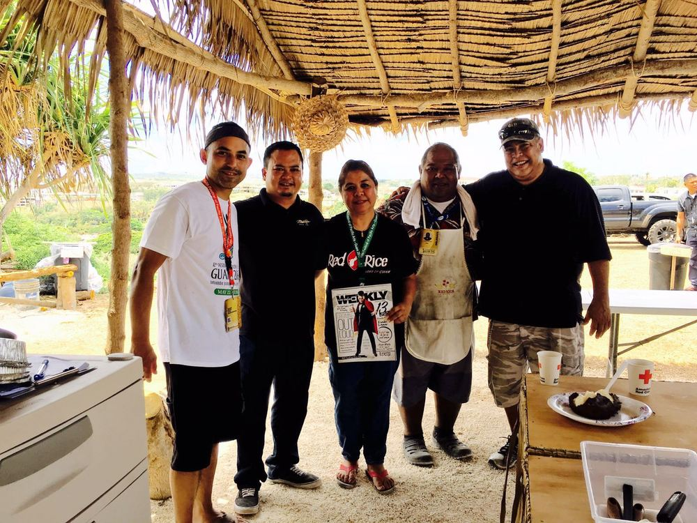Ed Sablan (PDX671), Peter Dueñas (Meskla), Carmen Tenorio (Red Rice - Las Vegas), Tony Mantanoña (Hotnu Bakery) and Paul Kerner (GCC Culinary Instructor)