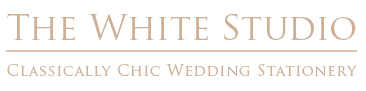 the white studio wedding stationary