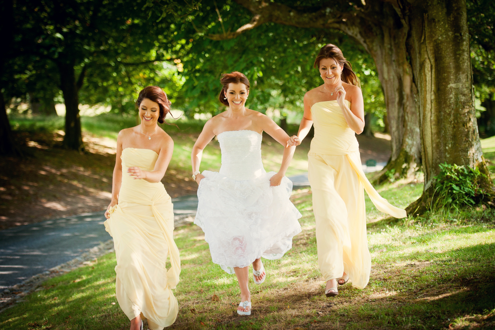 Comfy flip flops are Michael Kors -   Photography:   Weddings by KARA   © - Wedding Location: Kilshane House, Tipperary, Ireland