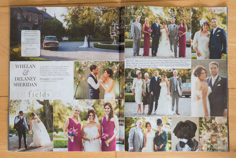 VIP Magazine spread. Wedding photography Ballymagarvey Village, Co. Meath, Ireland