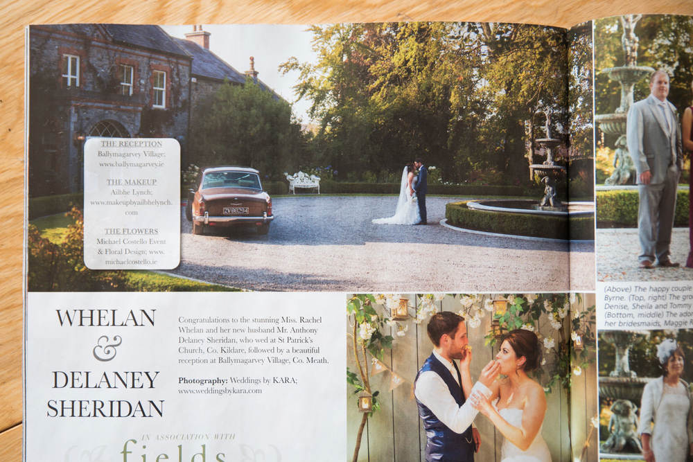 VIP Magazine wedding photography spread. Ballymagarvey Village, Ireland