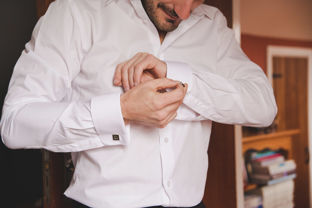 Groom getting ready close up of his cuffs - wedding photography meath ireland