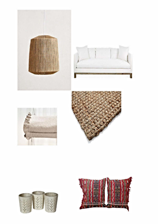 Bungalow pendant lamp- $198  Anthropologie , Cara sofa- $2499  One Kings Lane , Ruffle bedspread- $35-$249  Zara Home,  Jake jute rug- $19-$345  One Kings Lane , Set of 3 bone tea light holders- $35  Hunters Alley , Moroccan pillows, set of 2-$345  Hunters Alley