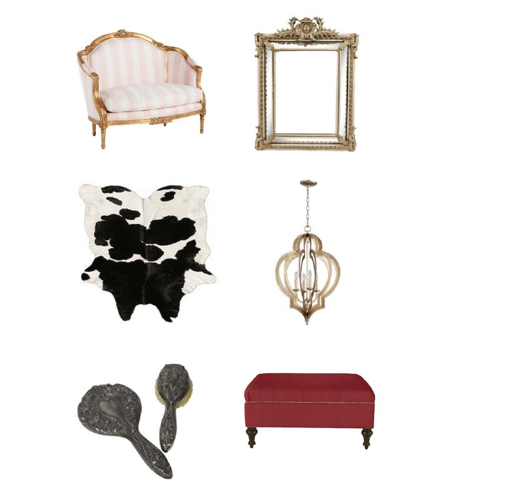Camilla Chair-  Laylagrace.com , French Beveled Mirror- $3,220  Hunters Alley,  Black and White Cowhide- $350  Hunters Alley , Vertigo Chandelier- $798  Layla Grace , Silver plated mirror and brush- $55  Hunters Alley,   Ottoman- $410-$630  Ballard Designs