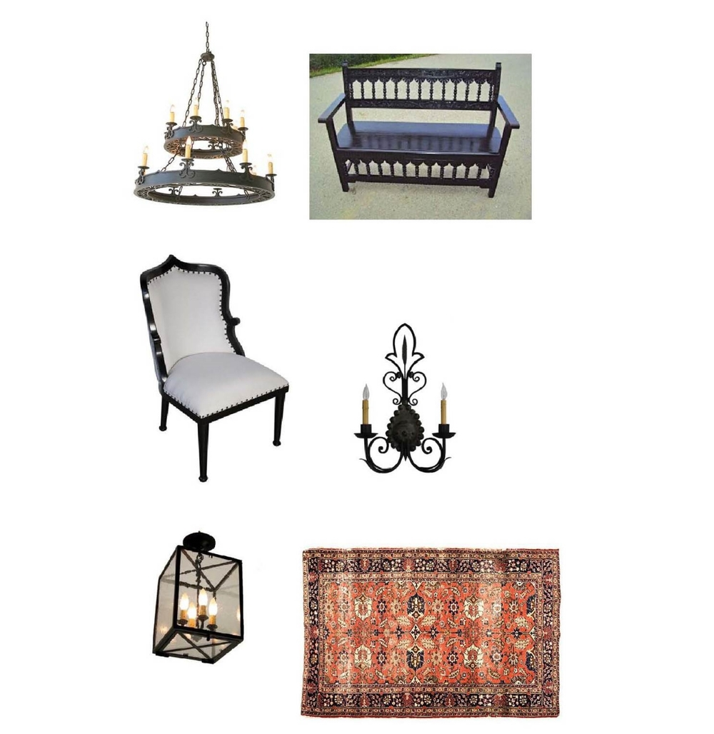 Chandelier:  Steven Handelman Studios , Carved walnut antique bench:  Mediterrania Antiques , Noir Cindra Chair: $696  Layla Grayce , Light Sconce: $515  Hacienda Light and Iron , Antonelli Pendant: $515  Steven Handelman , Antique Persian Mahal: $1,999  One Kings Lane