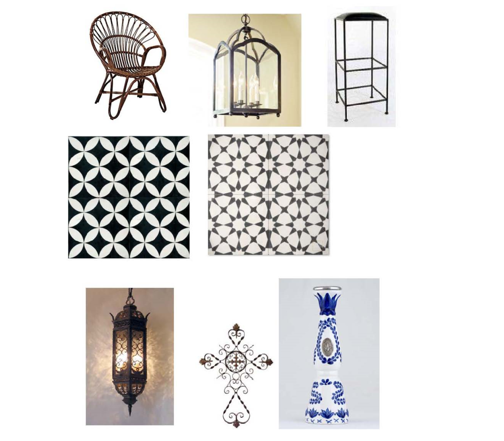 Hennie chaie: $295 Serena and Lily, Delaney pendant: $229 Ballard Designs, Grace bar stool: $148.75 Wayfair, Rubi- Barcelona cement floor tile: Tierra y Fuego, Snowbank floor tile: Mosaic House, Aviva pendant: $914 Steven Handelman Studios, Wrought iron cross: $94.50 Houzz, Clase Azul Reposado Tequila