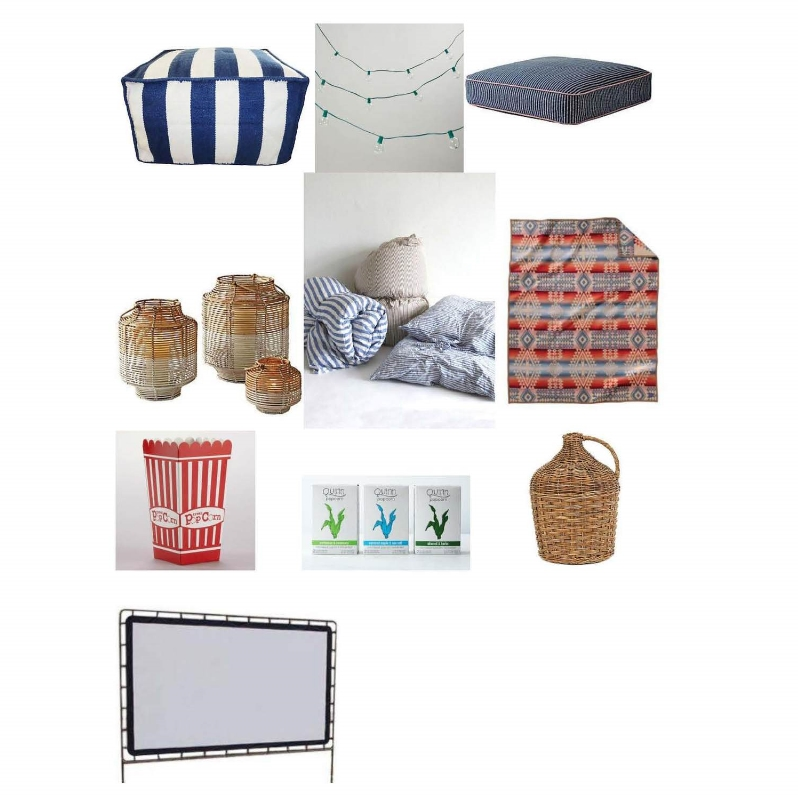 Outdoor pouf:  One Kings Lane , String lights: $16.99-$29.99  World Market , Tiny vine floor pillow: $98  Serena and Lily , Rattan lanterns: $28-$88  Serena and Lily , Throw bed: $350  Mille , Canyonlands blanket: $239  Pendleton , Popcorn boxes: $4.99  World Market , Rosemary, maple and oliveoil microwave popcorn: $18  Provisions , French country winery jug: $95  One Kings Lane , Outdoor/indoor movie screen: $247  Amazon