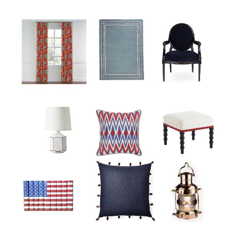 Custom curtains: Loom Decor, Chambray rug: Serena and Lily, Dawson armchair: $999 One Kings Lane, Laurel lamp: $148 Serena and Lily. Montauk zig zag pillow: $158 Layla Grayce, Bunny Williams stool: $1000 Layla Grayce,  S9 American flag books: $399 One Kings Lane, Mohagen pillow: $55 One Kings Lane, Anchor oil lamp: $210 Lightology