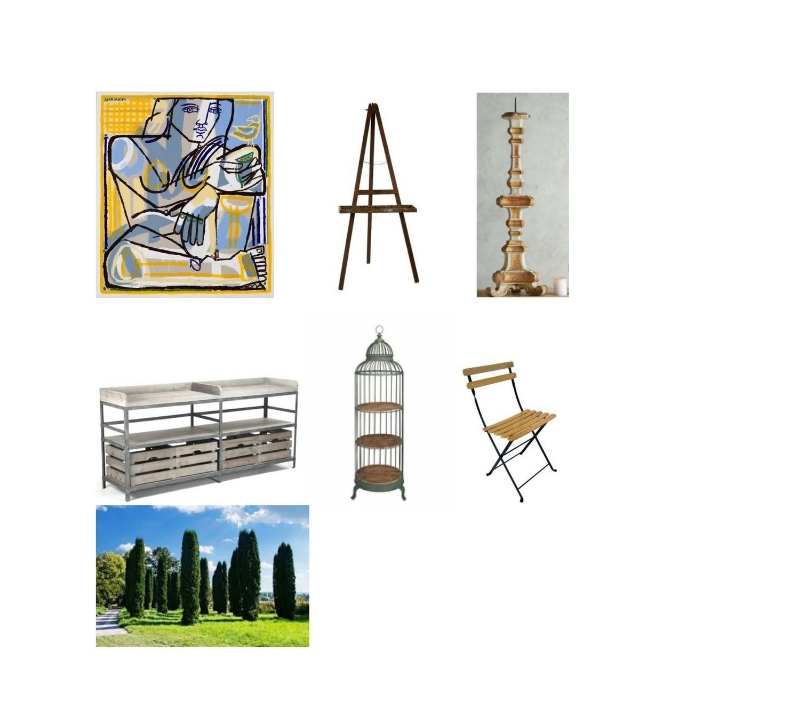 America Martin painting:  America Martin , Antique Artist Easel:  Etsy ,   Antique Candlestick Italian Gilt:  Layla Grayce , Zentique Furniture Arley Sideboard:  Layla Grayce , Charolette Birdcage:  Price Falls , Park folding chair:  The Garden Gates , Cypress trees:  Leyland Cypress Trees