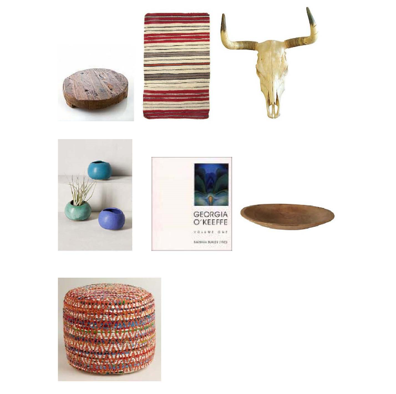 Wood Trivet: Hudson Grace, Vintage Navajo rug: Ruby+George, Texas Longhorn: One Kings Lane, Canyon Planters: Anthropologie, Georgia O'Keeffe: Catalogue Raisonné: Barns and Noble, Wood dough bowl: One Kings Lane, Chindi Pouf: World Market