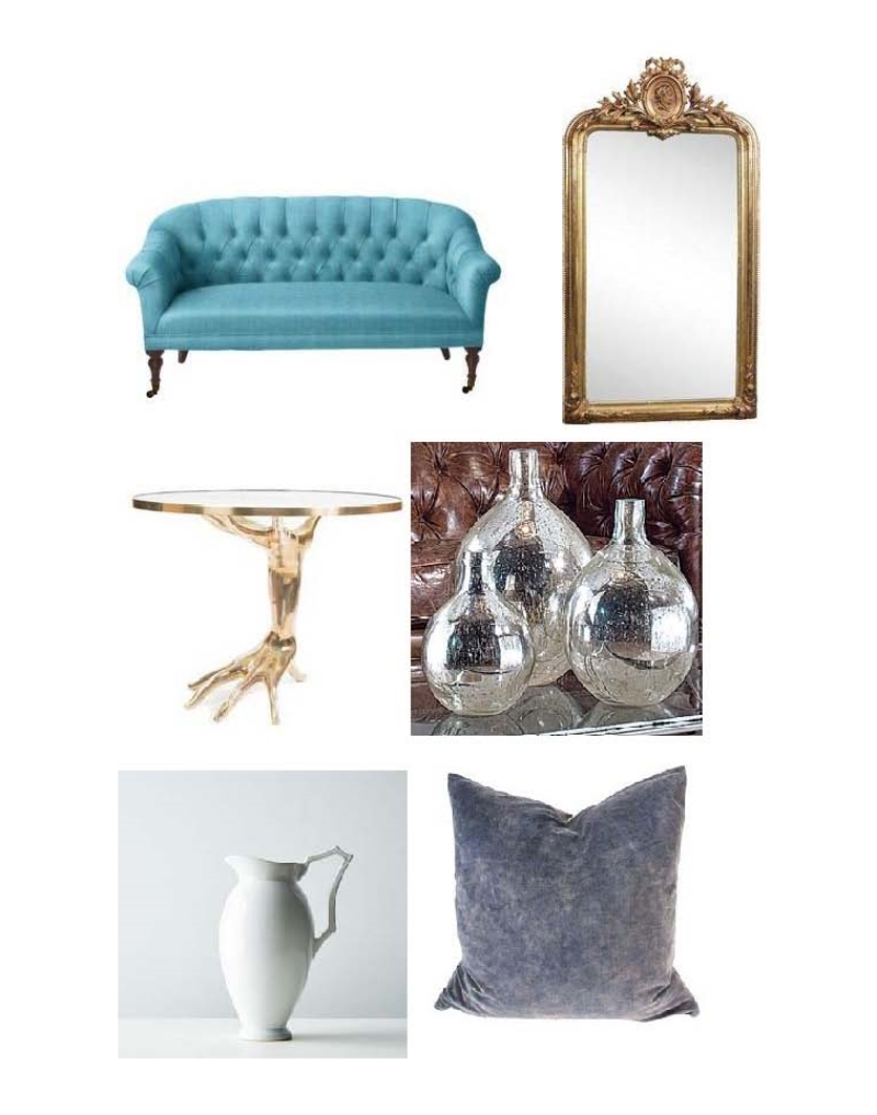 Paxton Tuffed Love Seat, Louis XVI Mirrow, Kelly Wearstler Dichotomy Bronze Table, Regina Andrew Wine Spheres, Stoneware Pitcher, Velvet Pillow