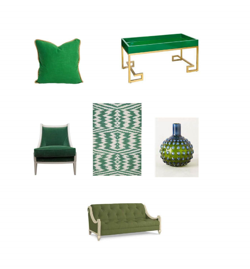 Emerald Pillow ,   Worlds Away Conrad Greek Key Green & Gold Tray Table ,    Capel Rugs Junction Dark Green Flatweave Wool Rug,    Hobnail Vase ,    Antoinette Settee