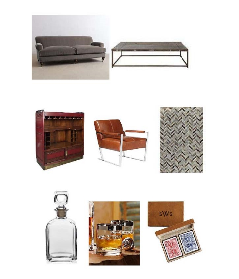 Velvet Willoughby Sofa, Anton Table, Casablanca Bar, Pike Chair, Cow Hide Rug, Parma Decanter, Silver Rim DOF Glasses, Leather Card Box