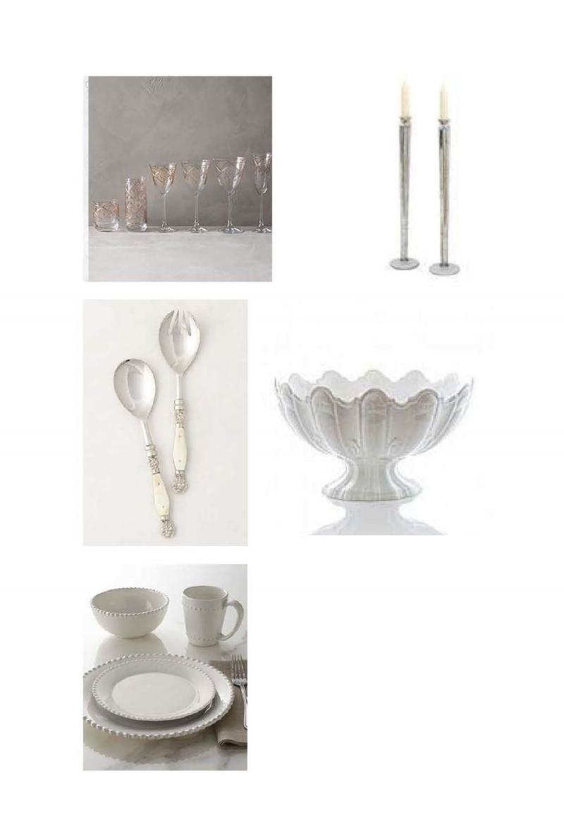 Glamis Stemware, Glass Candleholders, Resplendent Serving Set, Large Ceramic Scallop, Bianca Dinnerware