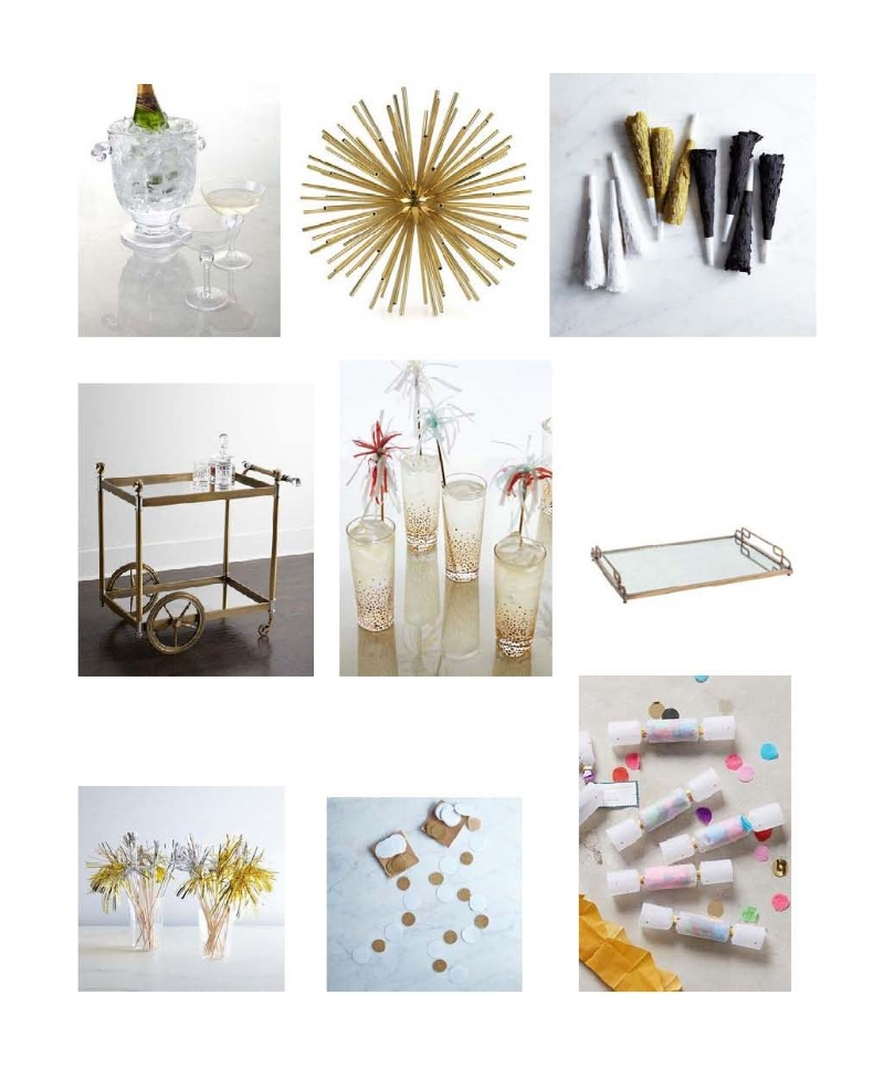 Simone Pearce ice bucket and champagne coupe: Neiman Marcus, Signature Kaleidoscope: Kelly Wearstler, Party Horns: Food52, Jacques Bar Cart: Neiman Marcus, Champagne highball glasses: Anthropologie, Gabby Decor Felix Eglomise tray: Layla Grayce, Party picks: Food52, White and gold circle garland: Food52, Mini confetti crackers: Anthropologie