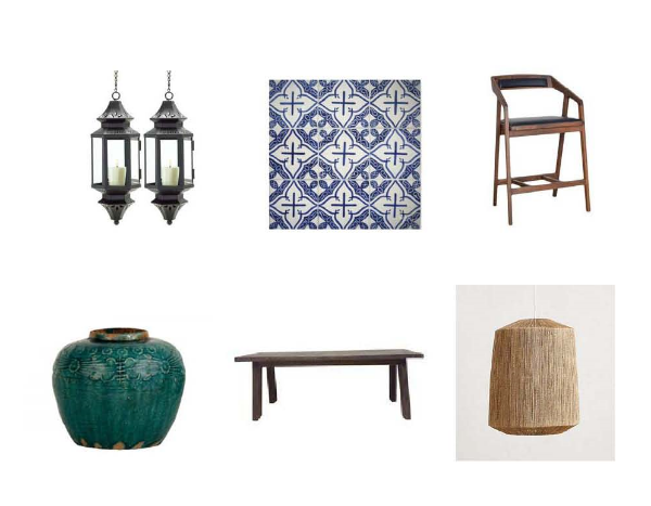 Hanging Pendant Lanterns : One Kings Lane,  Marais Blue Tile : Mosaic House,  Ian Barstool : One Kings Lane,  TurquoiseJar:  Jayson Home,  French Monastery Table : Charish,  Bungalow Pendant Lamp : Anthropologie