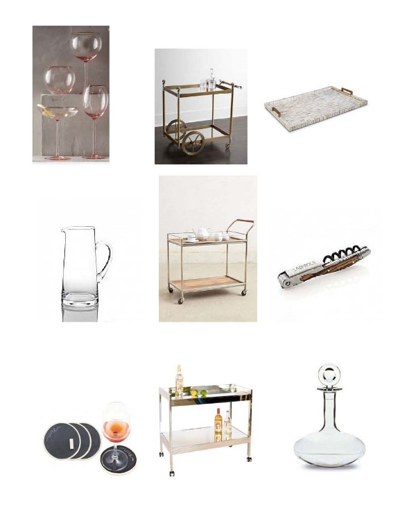 Gilded Rim Stemware : Anthropologie,  Jacques Bar Cart:  Neiman Marcus,  Multi-Tone Bone Brass Tray,  Layla Grayce,  Bar Tapered Jug : Hundson Grace,  Wooden Bar Car : Anthropologie,  Laguiole Corkscrew : Hudson Grace,  Chalkboard Coasters : One Kings Lane,  Nickel Bar Cart : Layla Grayce,  Baccarat Oenology Wine Decanter : Neiman Marcus