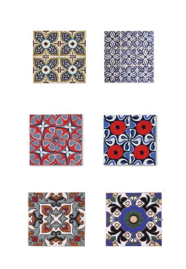 Bijoux Collection : Mosaic House,  Michel Collection : Mosaic House,  Mougins : Cle Tile   Persimmon : Cle Tile,   SD-110:  Arto Tile Studio,   SD-108 : Arto Tile Studio