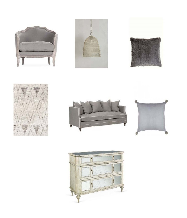 Joseph Club Chair : One Kings Lane,   Mesh Beehive Pendant : Anthropologie,  Luxe Lapin Pillow:  Calypso,  Masinissa Hand Knotted Rug : Dash and Albert, Benchmade by  BrownstoneThompson Sofa : Layla Grayce,  Linen Floor Cushion : Calypso,  Evelyn Mirrored Chest : One Kings Lane