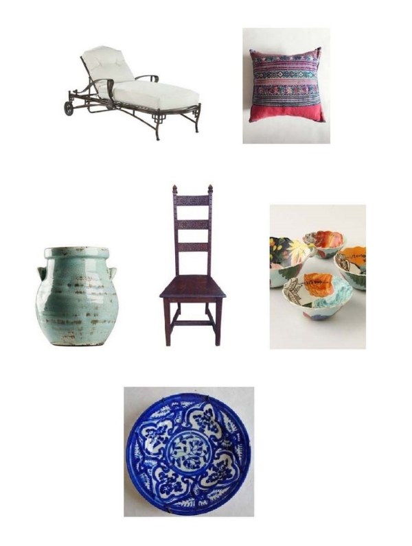 Shangri-La Chaise : One Kings Lane,  Non-Perishable Goods Pillo w: Mille,  Blue Jar : Layla Grayce,  Spanish Arts and Crafts Chair : Chairish,  Painted Amaryllis Measuring Bowls : Anthropologie,  Vintage Spanish Majolica Plate : Etsy