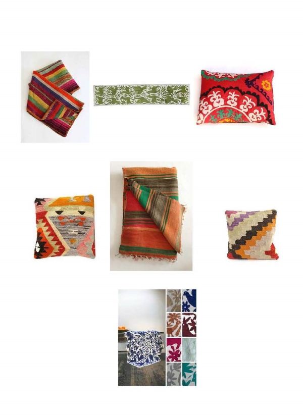 Mexican Blanket : Mille, Otomi  Table Runner : Loaded  Trunk, Red Pattern Pillow:  Loaded Trunk,  Geometric Pillow:  Loaded Trunk,  Vintage Kilim Rug : Mille  Geometric Pillow : Loaded Trunk,  Otomi Bedspreads and Fabrics : Laviva Home
