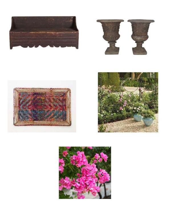 Primitive Swedish Bench: Chairish, Cement Urn Planters: Chairish, Handwoven Doormat: Anthropologie, Wall Garden Trellis: Grandin Road, Bougainvillea Plants: Brighter Blooms