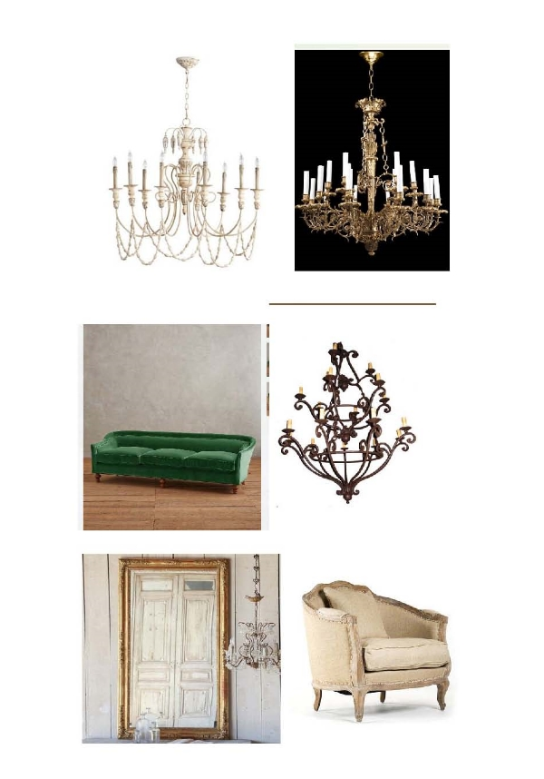 Florine Chandelier: Layla Grayce,  1860 Luis XV Chandelier: Olde Good Things, Holloway Sofa: Anthropologie, Felice 3 Tier Chandelier: Steven Handleman, Eloquence Antique Mirror Napoleon III: Layla Grayce, Mason Love Chair: Bliss Home