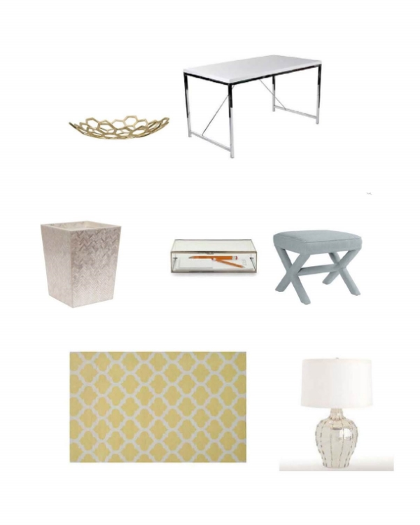 Honeycomb Brass Bowl : Jayson Home,  Shayla Desk:  One Kings Lane,  Pearlized Wastebasket : Layla Grayce,  Jedd Document Box:  Bliss Home,  Parker X-Bench : Serena and Lily,  Laurel Flat Weave Rug : One Kings Lane,  Arteriors Elise Table Lamp : Layla Grayce