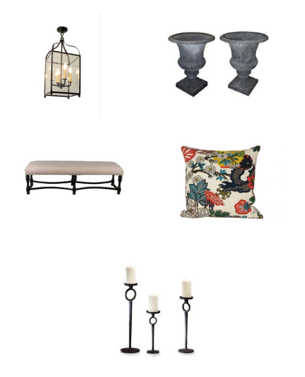 Nimes Pendant : Steven Handleman Studios,  Oversize Cast Iron French Urns : Chairish,  Noir Bourbon Bench : Layla Grayce,  Chinois Pillow : Jayson Home,  Duke Candleholders : Bliss Home