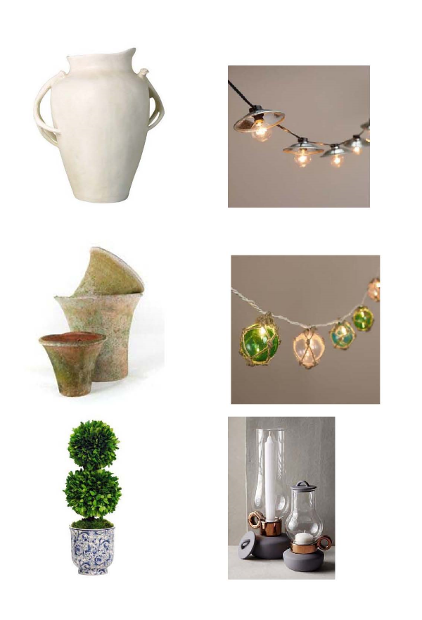 Deer Horn Plante r: One Kings Lane,  Cafe Bulb lights : World Market,   Wall Pots : Botanik,  Twine Wrapped String Light s: World Market,  Ball Boxwood in Planter : One Kings Lane,  Porcelain Lantern : Anthropologie
