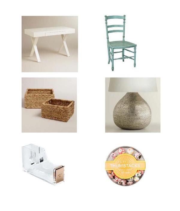 Josephine Desk, Redford House Swedish Chair, Natural Mizy Baskets, Pewter Lamp, Stapler, Thumbtacks