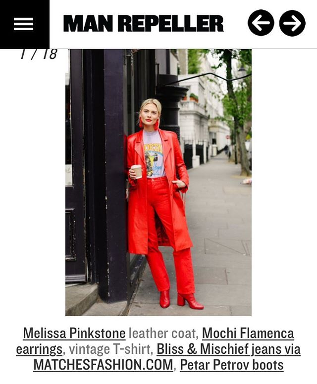 New article in @manrepeller by @pandorasykes all in red❤️the art of tonal dressing #red #melissapinkstone #leathercoat #manrepeller #pandorasykes