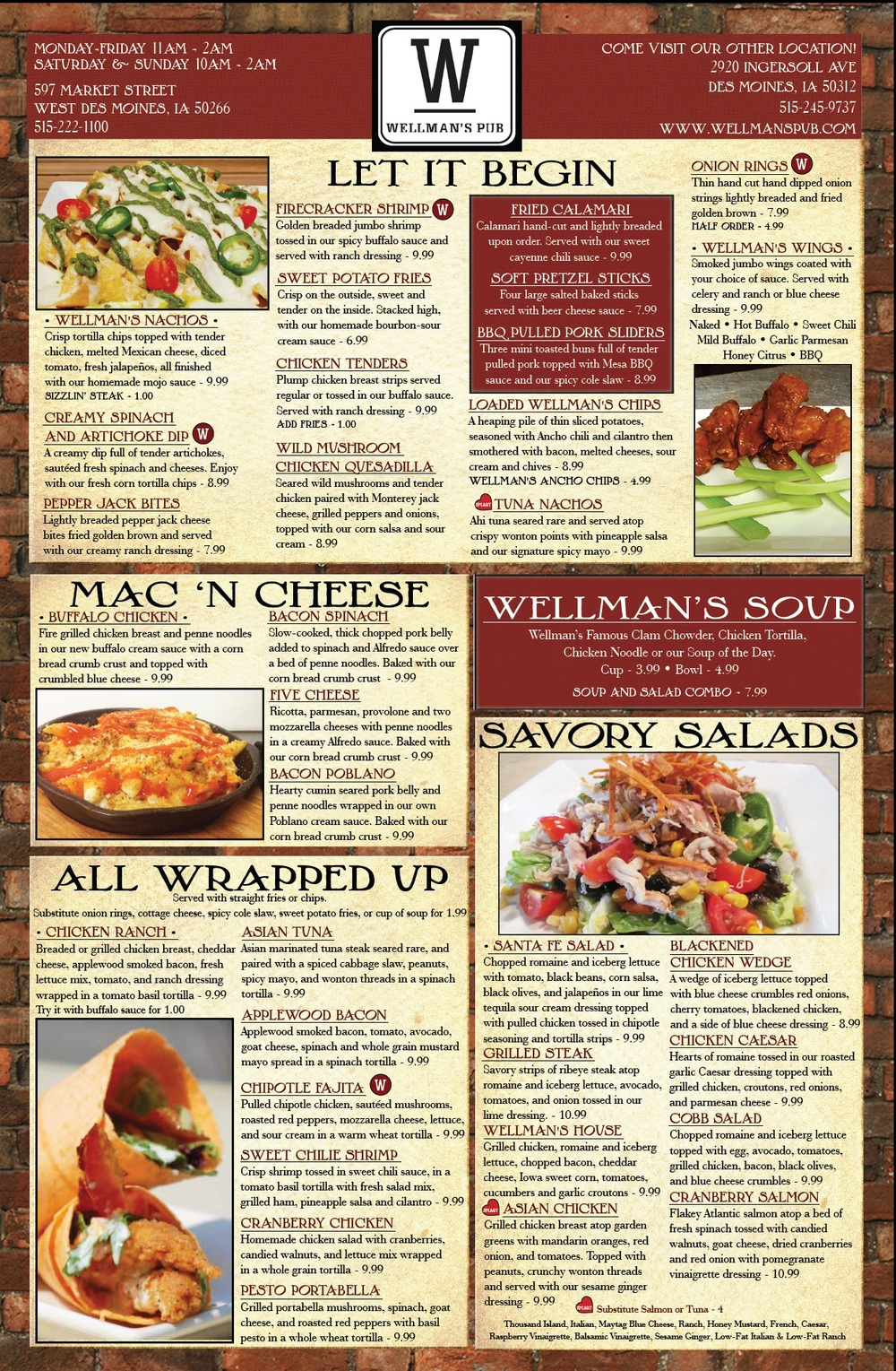 New menu for wellman 39 s pub and rooftop wellman 39 s pub for T s dining and lounge virden menu